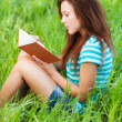 Young woman sits on grass and reading book - Foto Stock