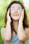 Portrait of young beautiful woman wearing glasses — Stock Photo