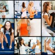Collage of two female athletes - Stock Photo
