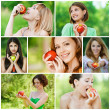 Young beautiful women with apples - Stock Photo