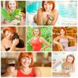 Collage of beautiful woman at resort - Stock Photo