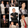 Collage of businessteam - boss and secretary - Stock Photo