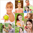 Young beautiful women and men with apples — Stock Photo