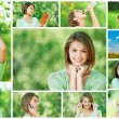 Collage of cheerful young beautiful woman — Foto Stock