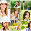 Young women talking on cell phone — Stock Photo