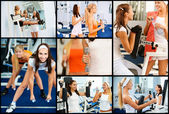 Collage of two female athletes — Foto de Stock