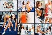 Collage de dos atletas femeninas — Foto de Stock