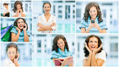 Collage of young beautiful woman — Stock Photo