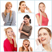 Young beautiful women talking on cell phone — Stock Photo