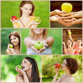 Young beautiful women with apples — Stock Photo