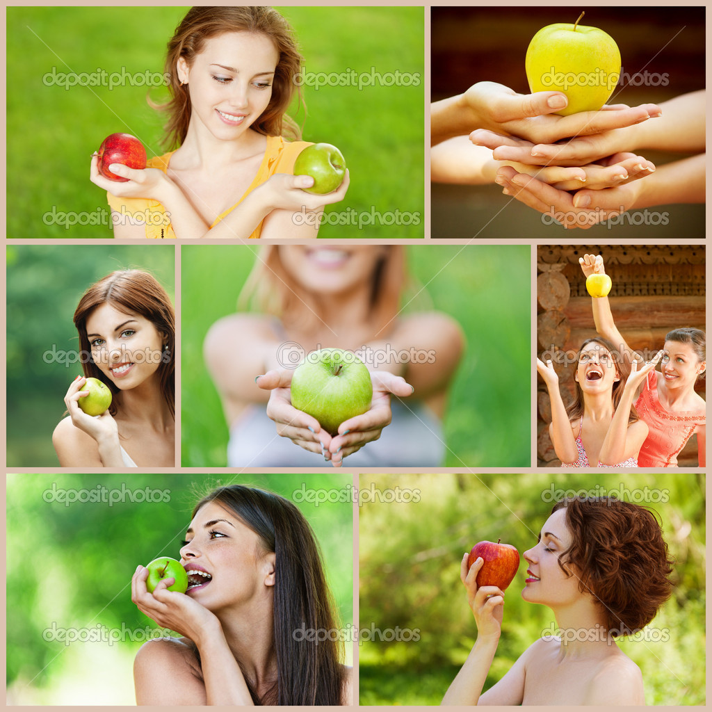 Collage of cheerful young beautiful women with apples on green summer park. — Stock Photo #9592812
