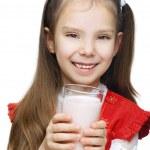 Постер, плакат: Little smiling girl with milk
