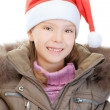 Little girl in Christmas hat — Stock Photo