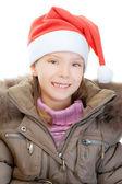 Dziewczynka w boże narodzenie kapelusz — Zdjęcie stockowe