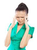 Schöne Frau, die Kopfschmerzen hat — Stockfoto