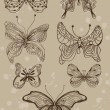Vintage hand-drawn butterflies set — Stock Vector
