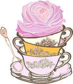 Tea cup background with flower — Stock Vector