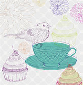 Tea time background with cupcakes and bird — Stock Vector