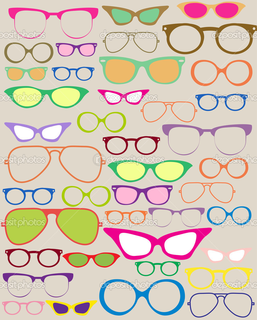 Set of different eyeglasses, beautiful illustration — Stock Vector #10417311