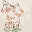 Grunge background with cute mushrooms - Stockvectorbeeld