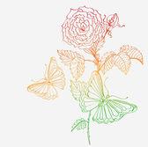 Borboleta e fundo romântico doodle com rosa — Vetorial Stock
