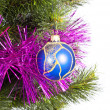 Royalty-Free Stock Photo: Part of Christmas Tree with blue ball