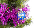 Part of Christmas Tree with blue ball — Stock Photo