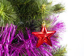 Part of Christmas Tree with decorations — Stock Photo