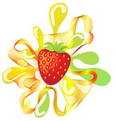Сolorful strawberry background with splash — Stockvektor