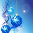 Elegant Christmas background with blue decoration balls — Stock Vector