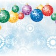 Christmas background with colorful decoration balls — Stock Vector