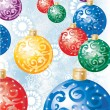Christmas background with colorful decoration balls — Stock vektor