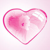 Abstract background with pink floral heart — Vecteur