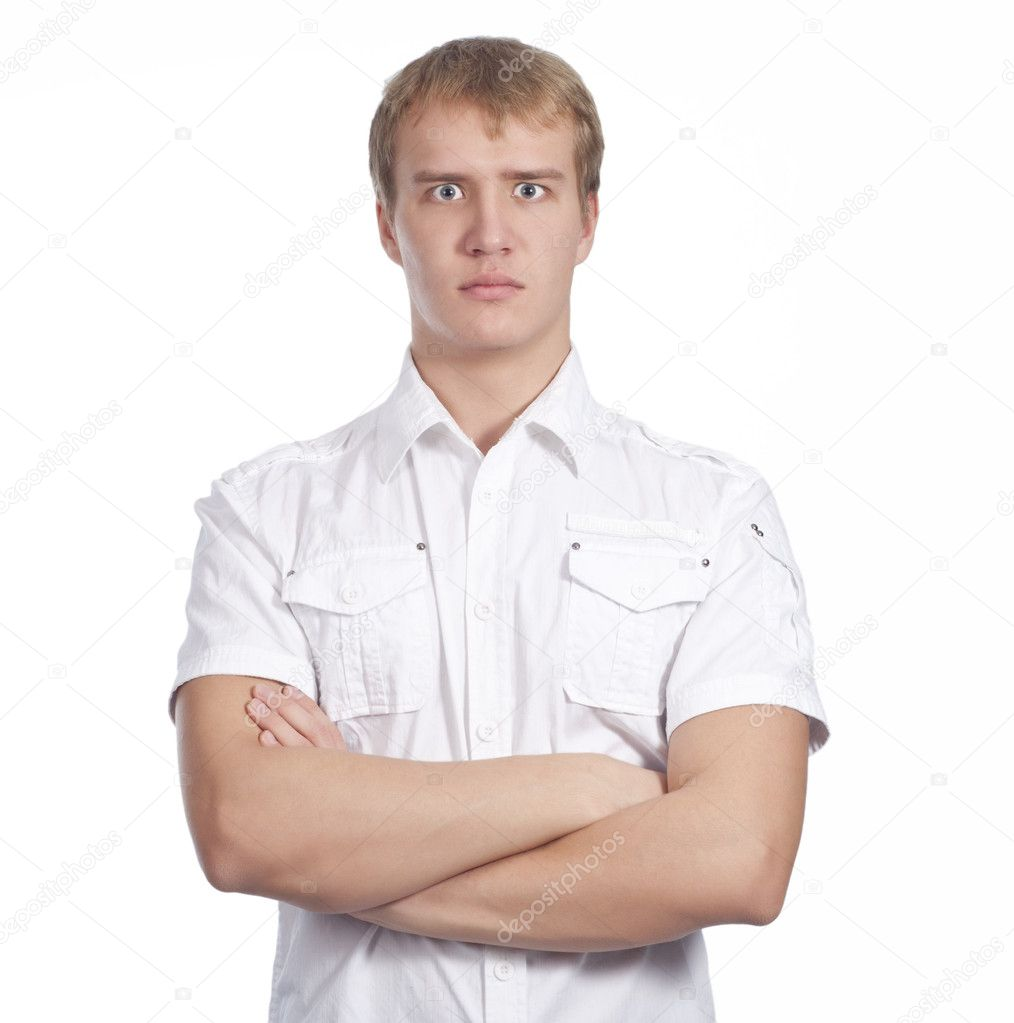 Closeup of young man looking at camera over white — Stock Photo #8194640