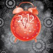 Stock Vector: Elegant New Year background with red clock