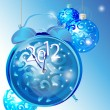 Elegant New Year background with clock and blue decorations - Stock Vector