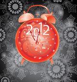 Capodanno elegante sfondo con orologio rosso — Vettoriale Stock