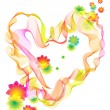 Background with bright heart and flowers — Imagen vectorial