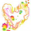 Background with bright heart and flowers - Imagens vectoriais em stock