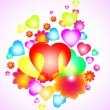 Background with bright heart and flowers — 图库矢量图片