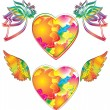 Two beautiful heart with wings — Stock Vector