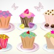 Set of 6 cute cupcakes — Image vectorielle