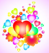 Background with bright heart and flowers — Vector de stock