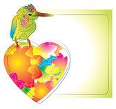 Karta kolorowy ptak i serca — Wektor stockowy