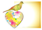 Colorful card with bird and heart — Stock Vector
