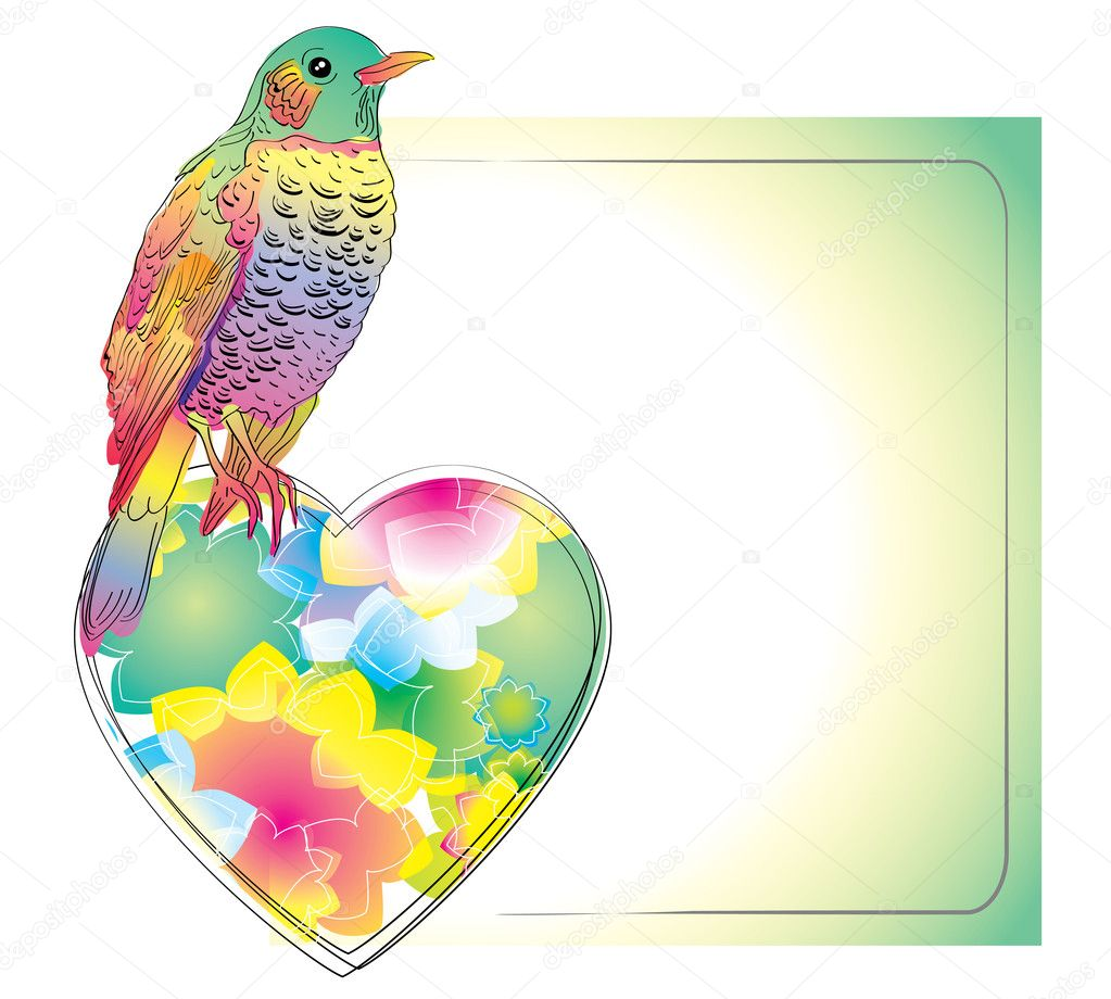 Colorful card with bird and heart for your design — Stock Vector #8238476