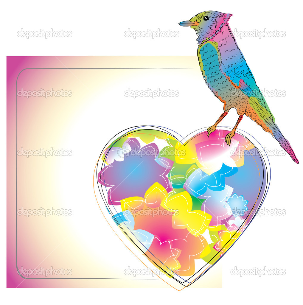 Colorful card with bird and heart for your design — Stock Vector #8238479