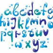 Cute glossy blue alphabet — Stock Vector #8265838