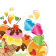 Background with sweets, fruit, berries and ice cream — 图库矢量图片