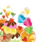 Hintergrund mit Süßigkeiten, Obst, Beeren und Eis — Stockvektor